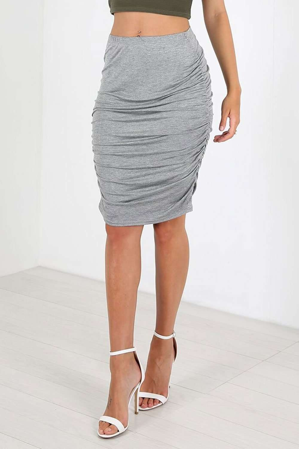 Elizabeth High Waist Ruched Midi Skirt - bejealous-com