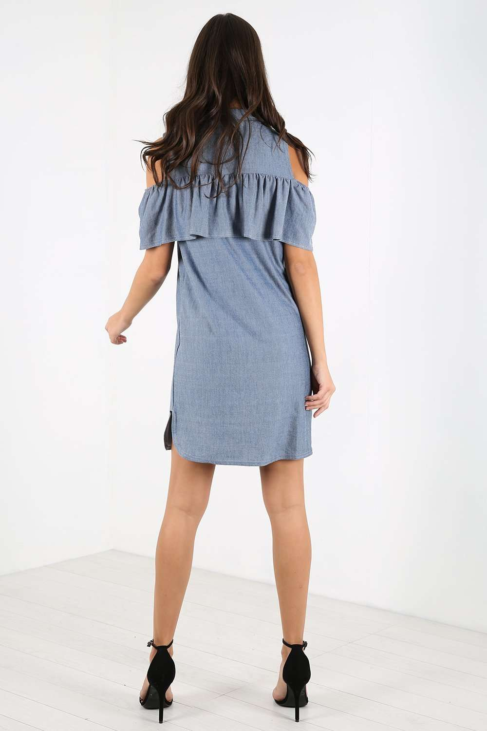 Ella Cold Shoulder Frill Denim Mini Dress - bejealous-com