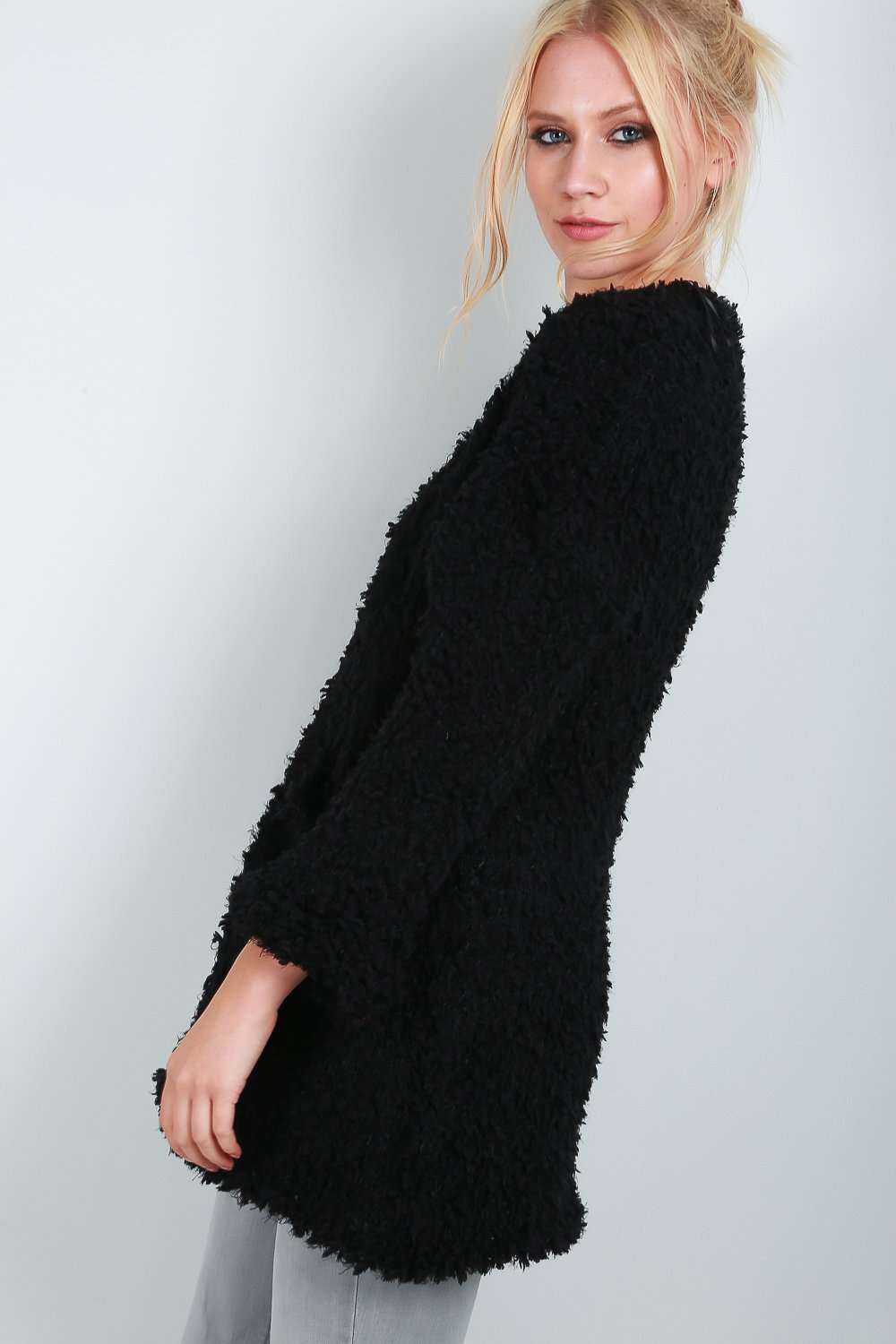 Ella Cropped Sleeve Fluffy Cardigan - bejealous-com