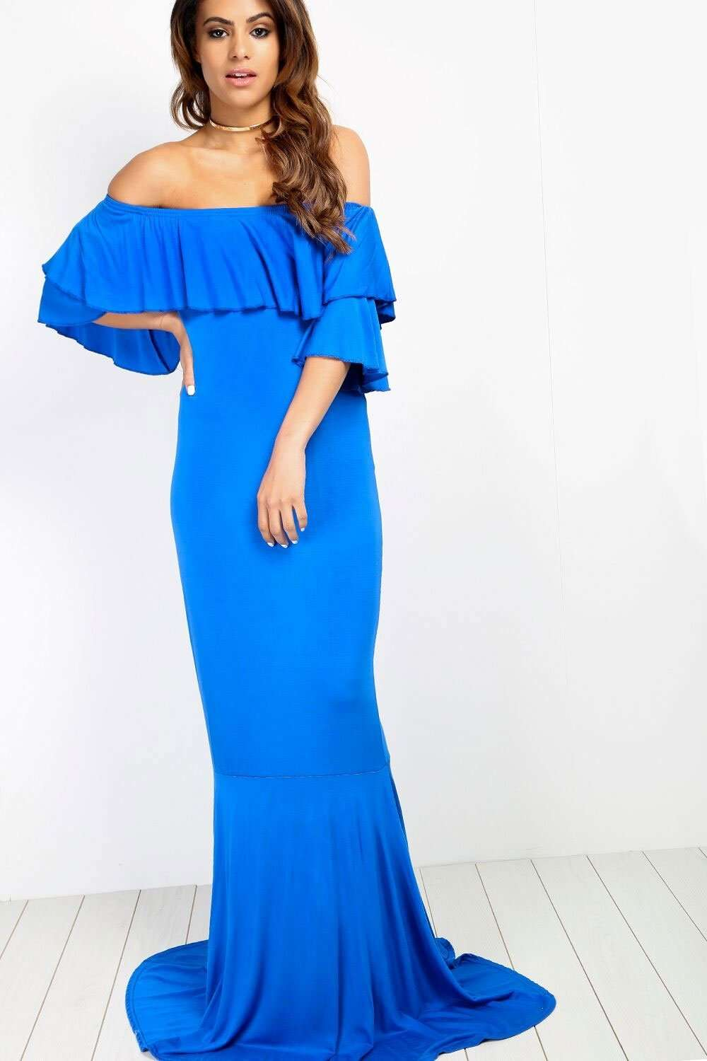 Ellie Bardot Frill Sleeve Fishtail Maxi Dress - bejealous-com