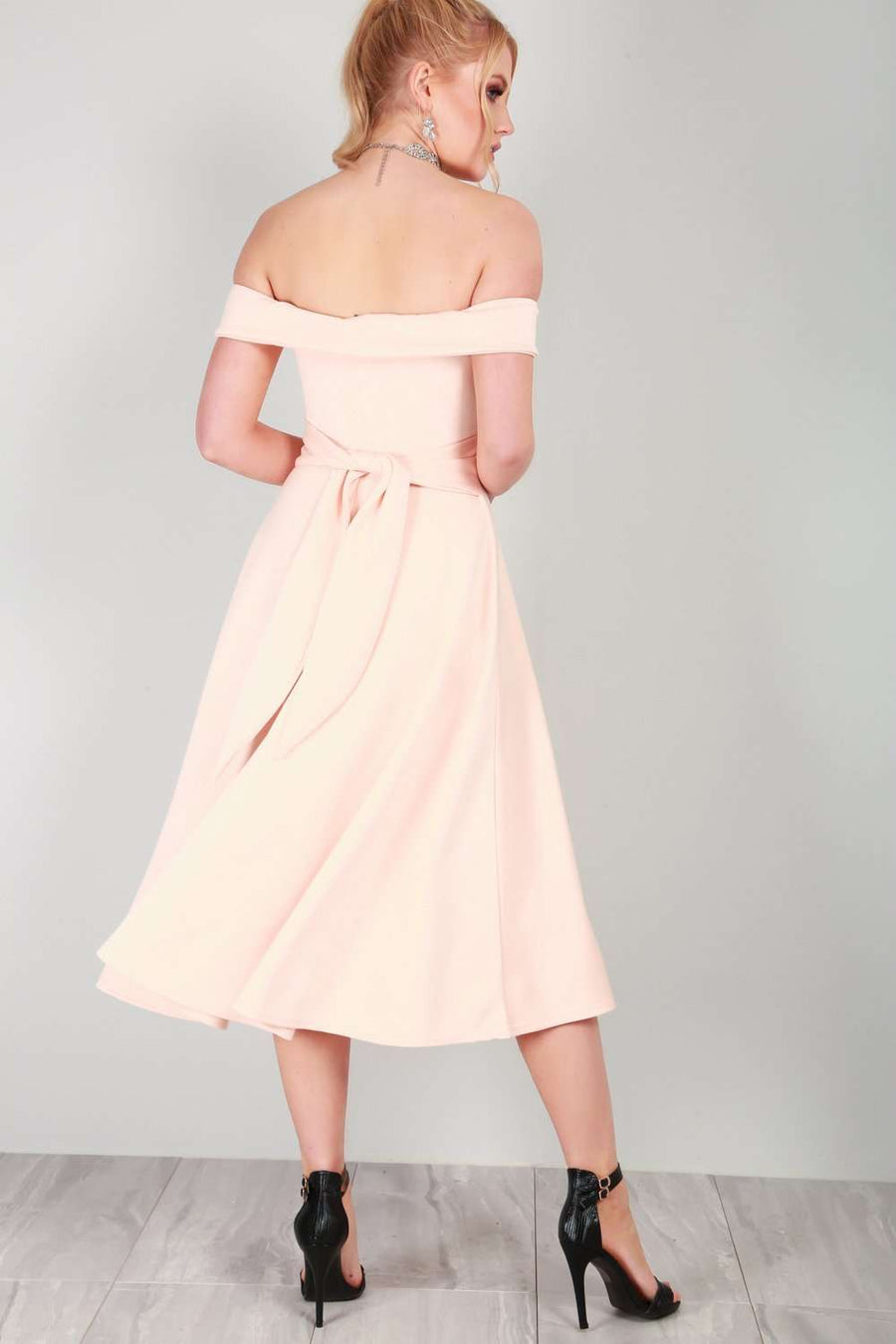Ellie Off Shoulder Midi Swing Dress - bejealous-com