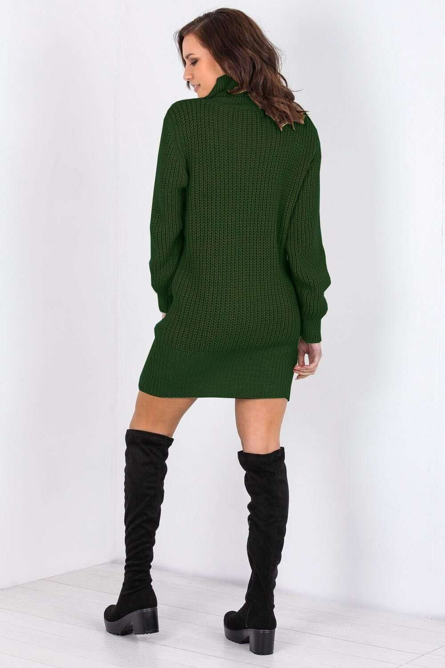 Elouise Roll Neck Knitted Jumper Dress - bejealous-com