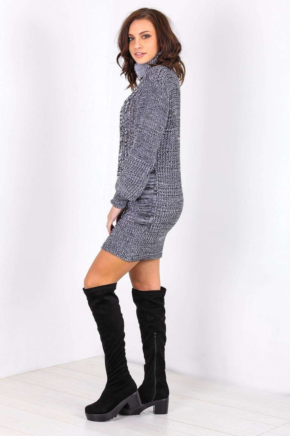 Long Sleeve Roll Neck Knitted Jumper Dress - bejealous-com