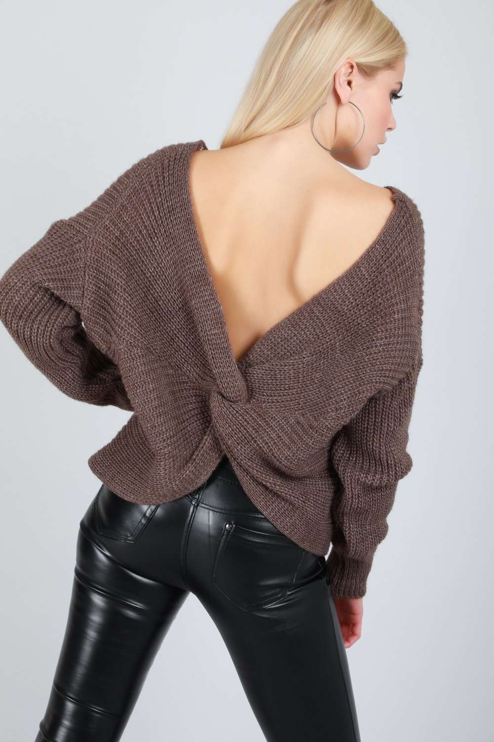 Elsi Twisted Back Oversized Knitted Jumper - bejealous-com