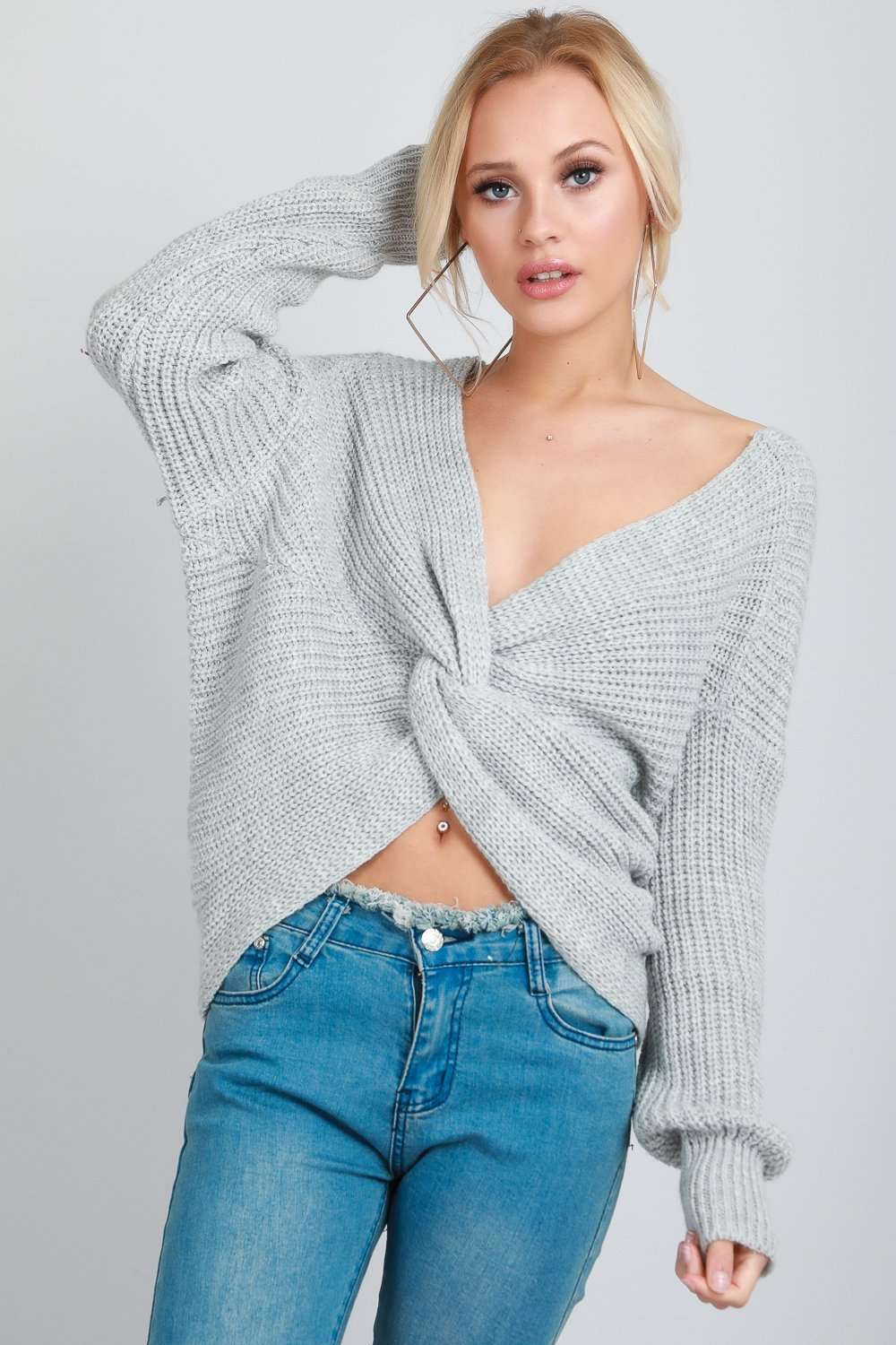 Elsi Twisted Front Oversized Knitted Jumper - bejealous-com