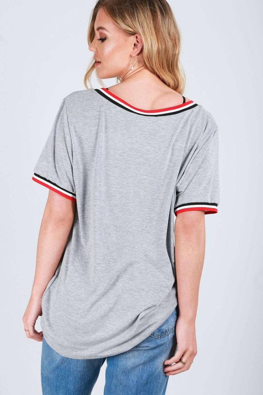 Elsie Oversized Vneck Striped Basic Tshirt - bejealous-com