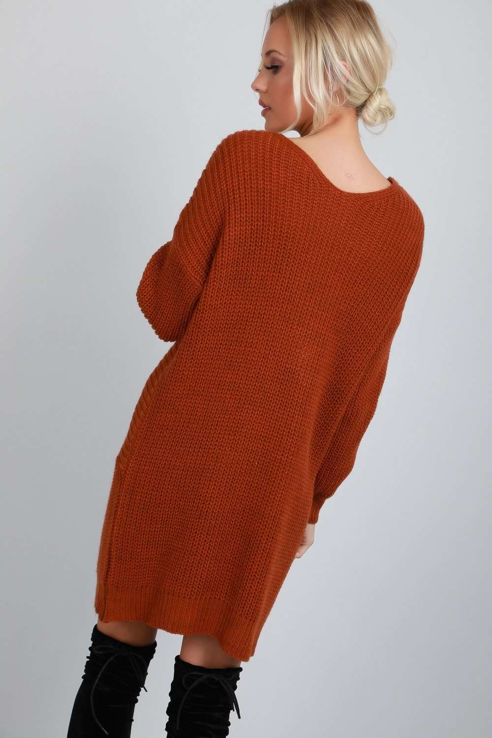 Elyssa Twist Front Oversized Knitted Jumper Dress - bejealous-com