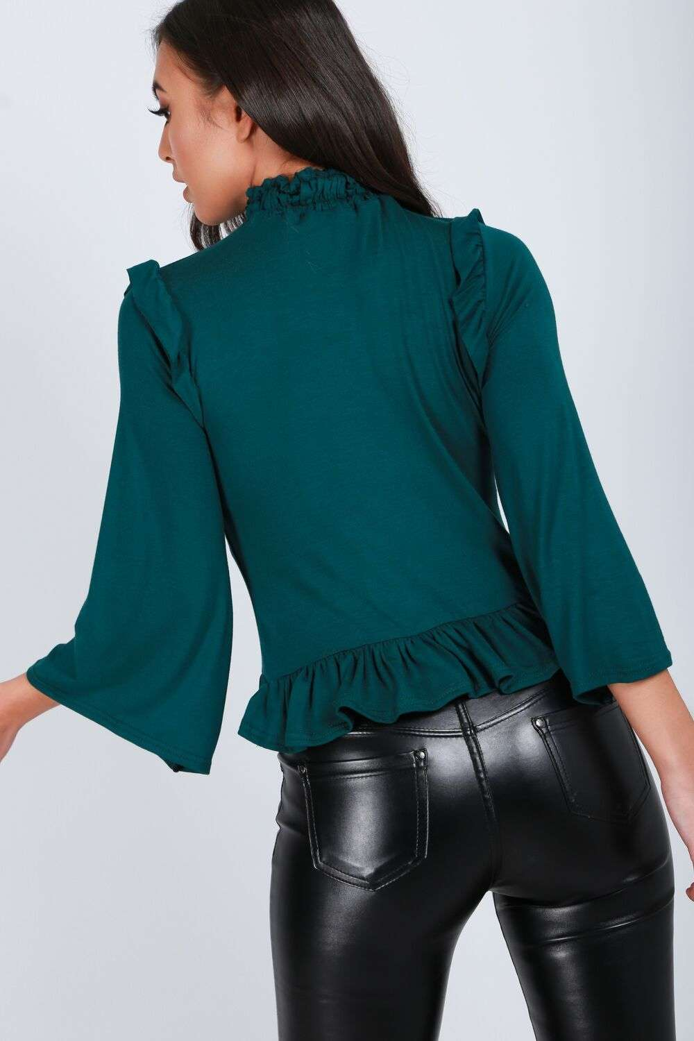 Emerald Funnel Neck Cropped Sleeve Frilly Top - bejealous-com