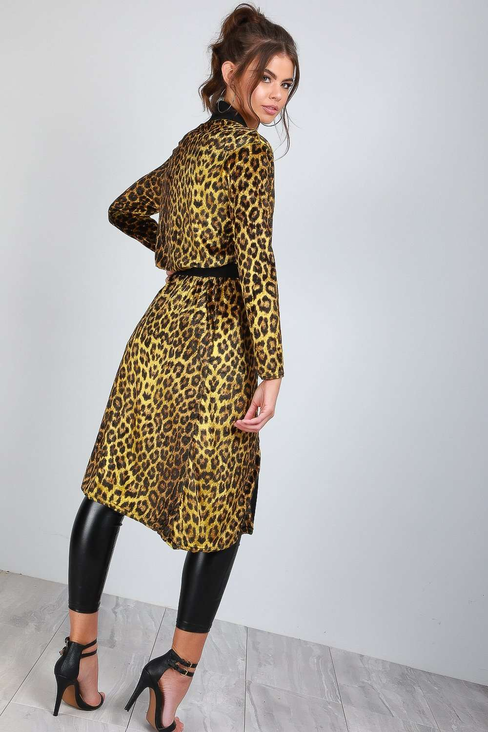Emerald Long Sleeve Leopard Print Faux Velvet Jacket - bejealous-com