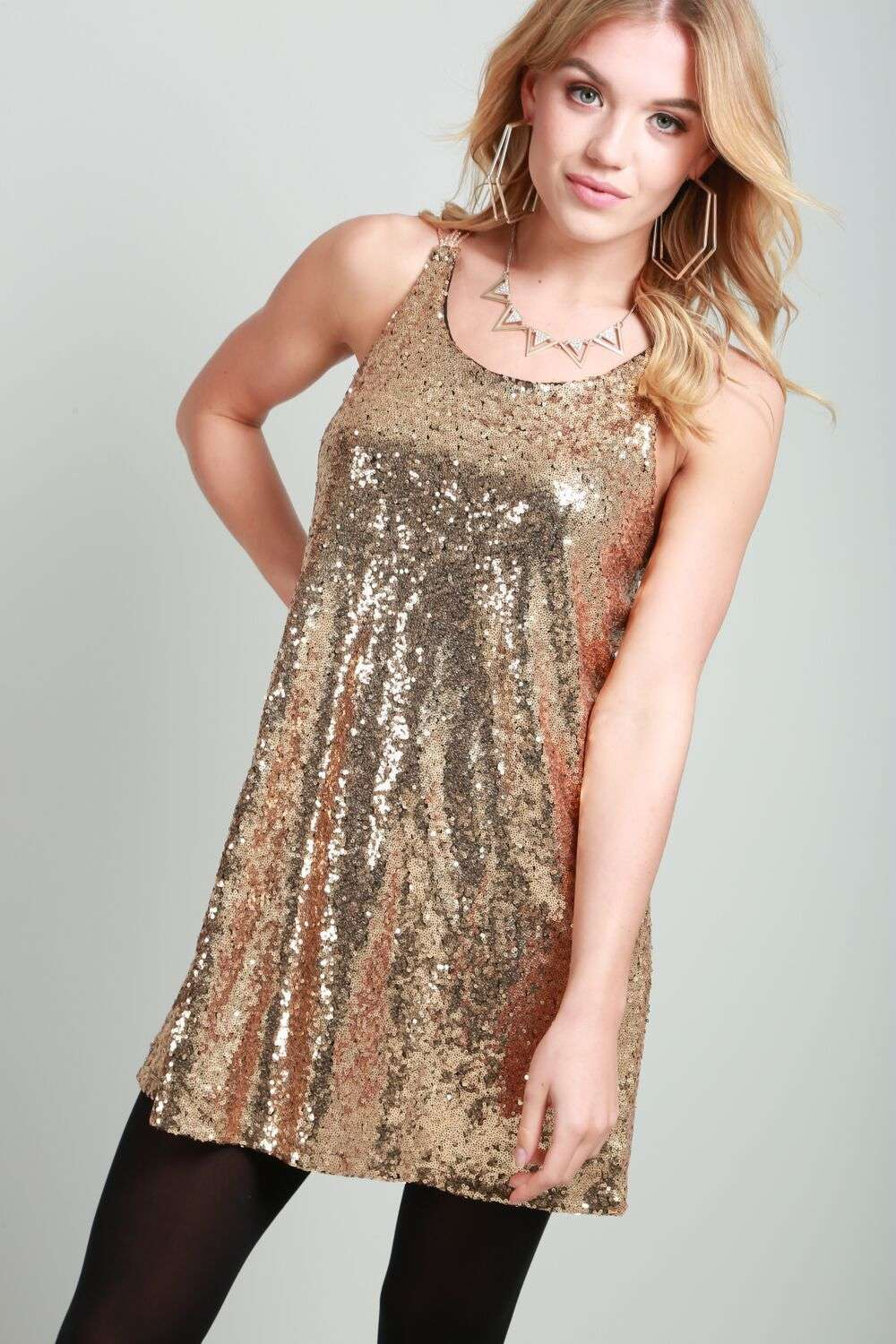 Emilia Racer Back Sequin Mini Swing Dress - bejealous-com