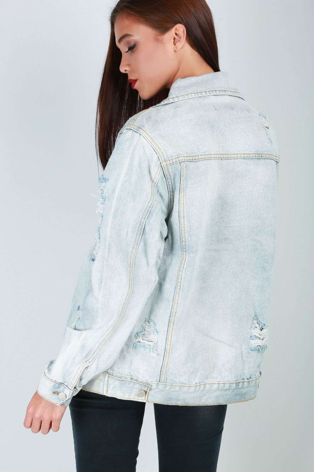 Emilia Ripped Oversized Light Blue Denim Jacket - bejealous-com
