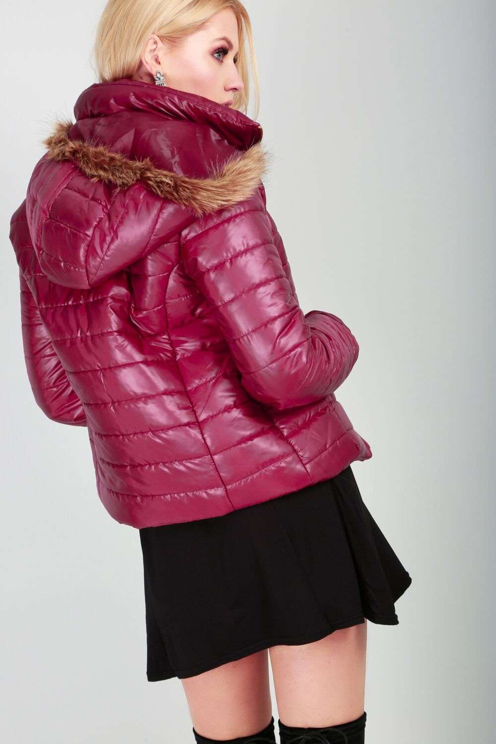Emily Faux Fur Hooded High Shine Quilted Coat - bejealous-com
