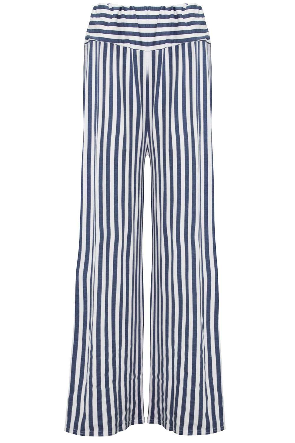 Emily High Waisted Navy Striped Palazzo Pants - bejealous-com