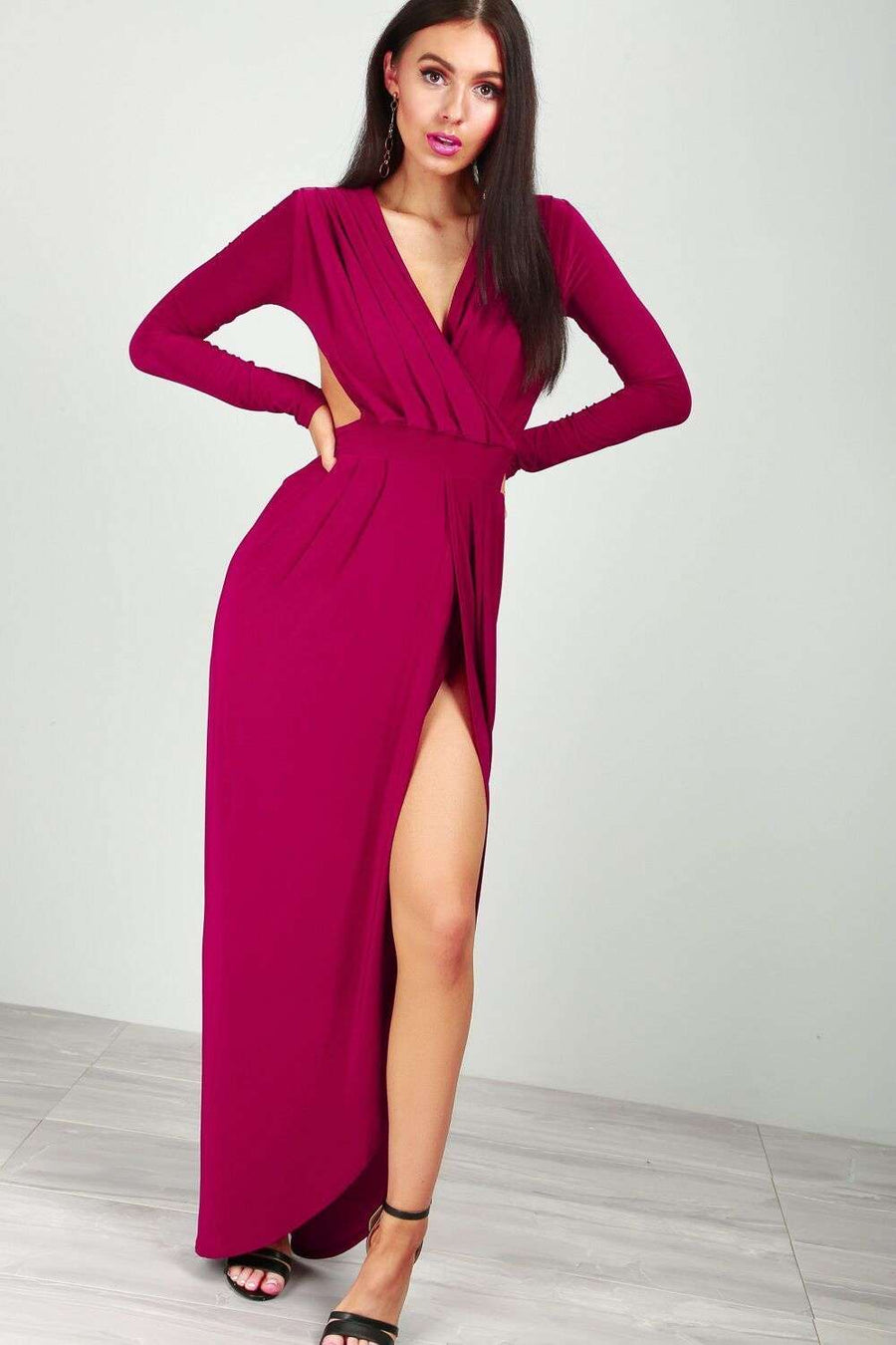 Emy Long Sleeve Open Back Wrap Maxi Dress - bejealous-com