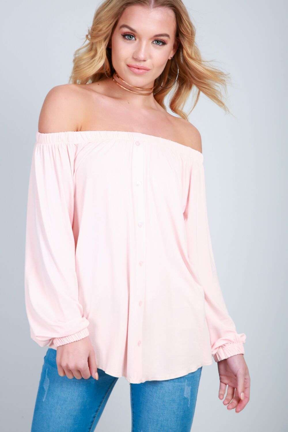 Erin Off Shoulder Button Front Top - bejealous-com