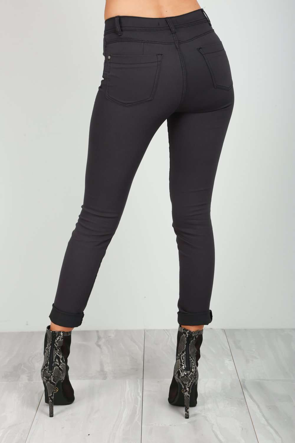 Esme High Waisted Grey Skinny Fit Jeans - bejealous-com