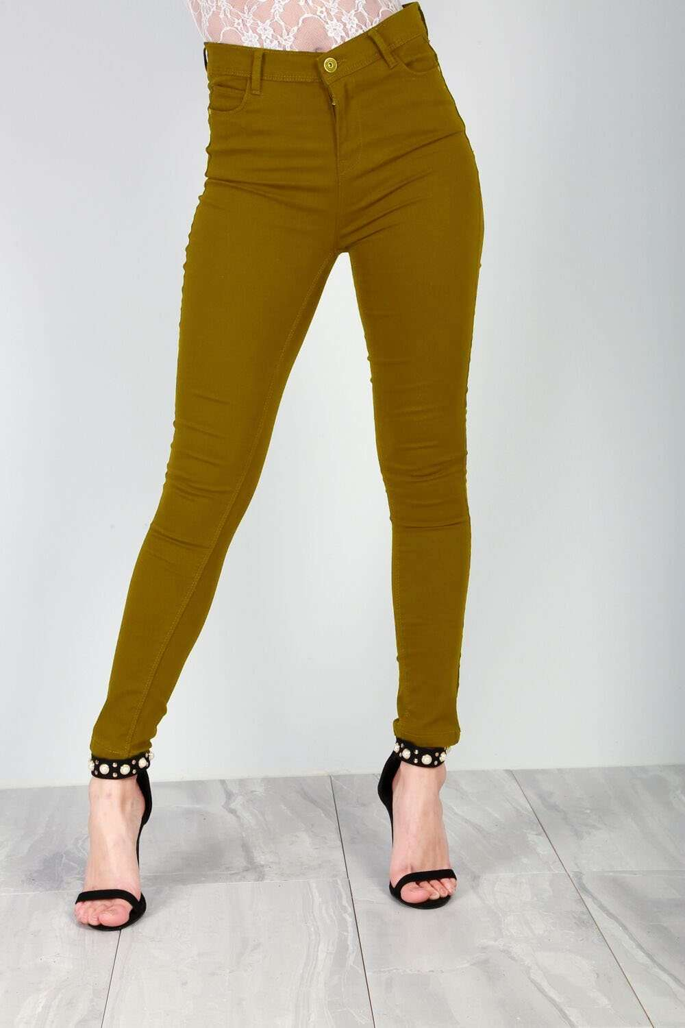Esme High Waisted Khaki Skinny Fit Jeans - bejealous-com