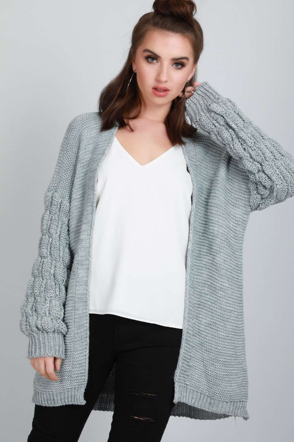 Esmee Bubble Sleeve Oversized Knitted Cardigan - bejealous-com