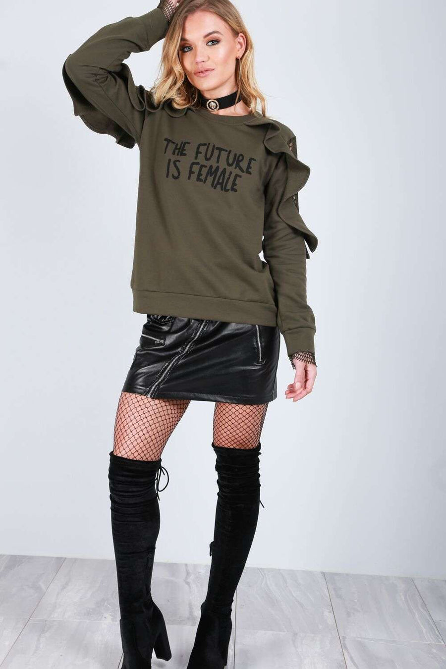 Evie Fishnet Slogan Sweater - bejealous-com