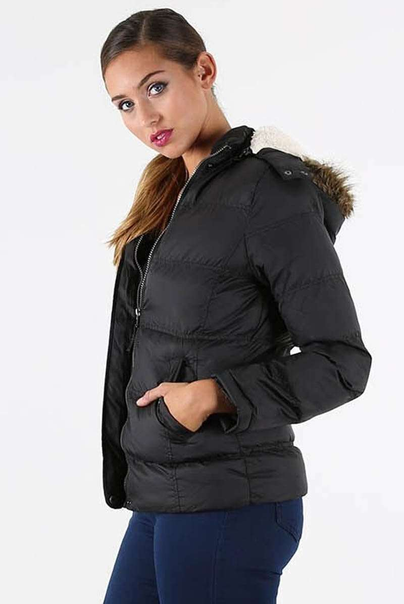 Faux Fur Hooded Black Quilted Puffer Jacket - bejealous-com