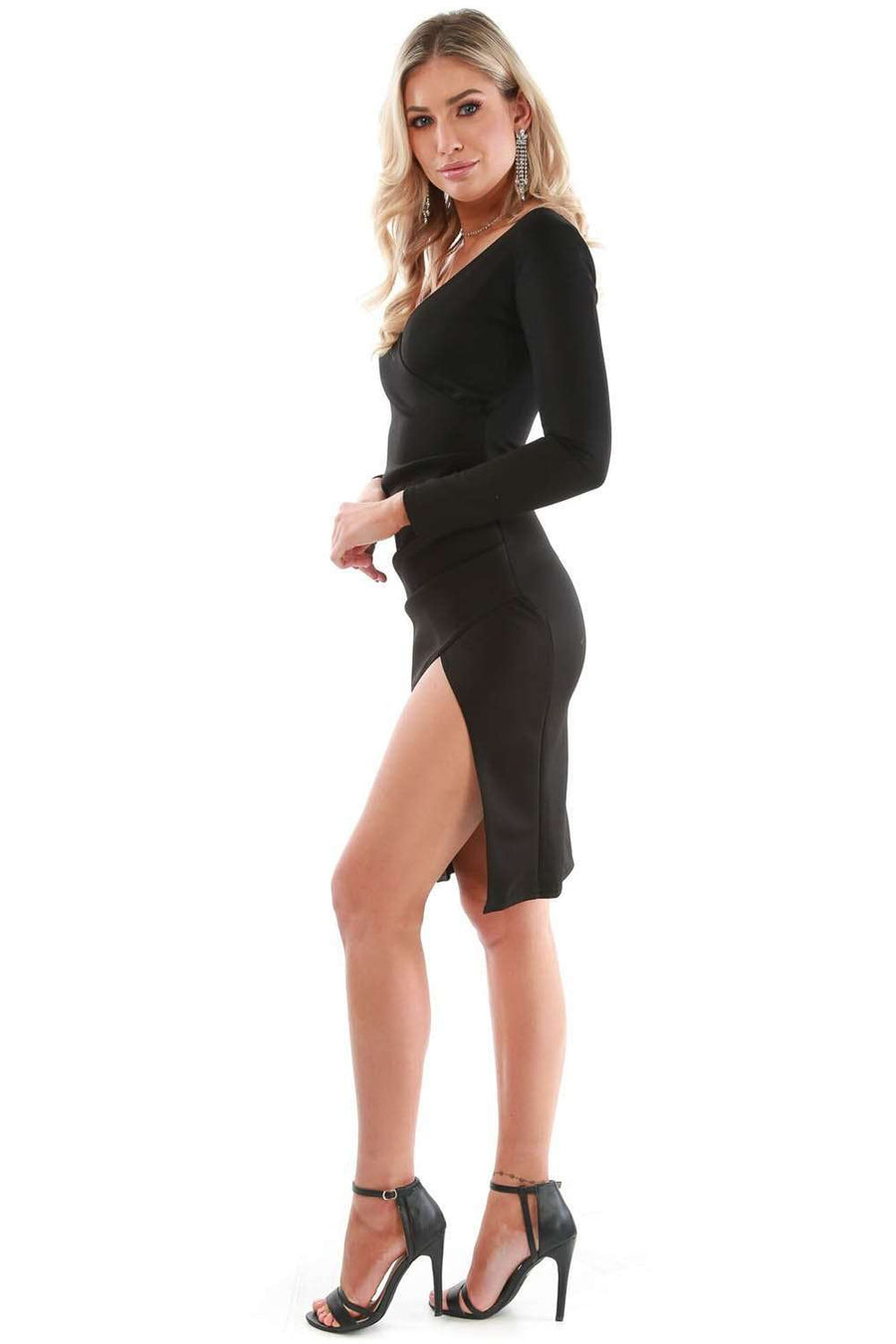 Faye Long Sleeve Black Wrap Bodycon Dress - bejealous-com