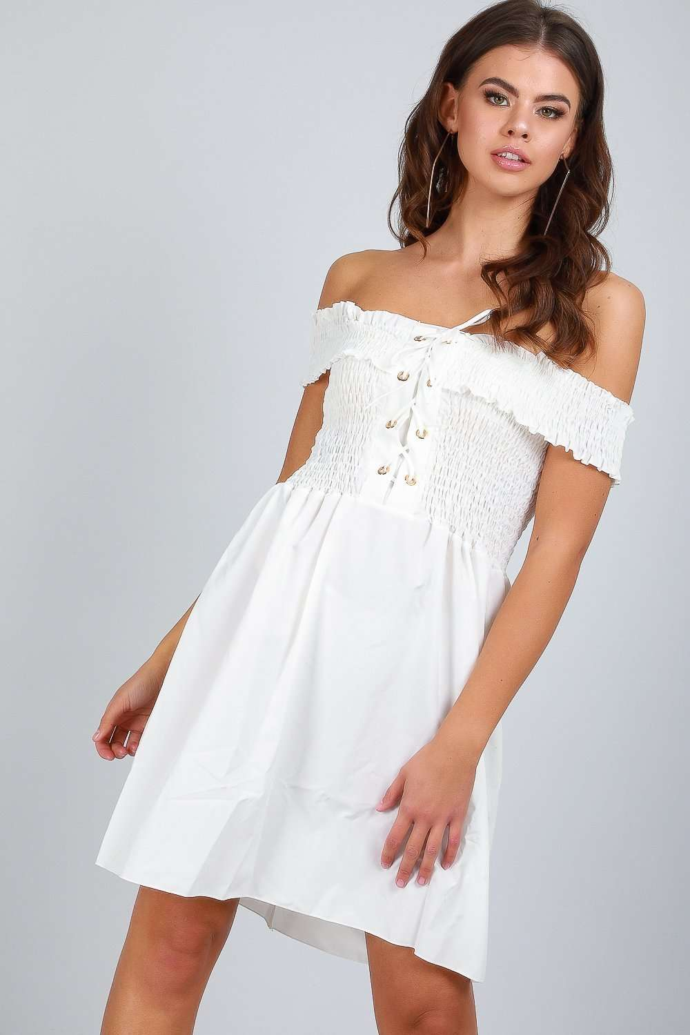 Felicity Off Shoulder Lace Up Mini Dress - bejealous-com