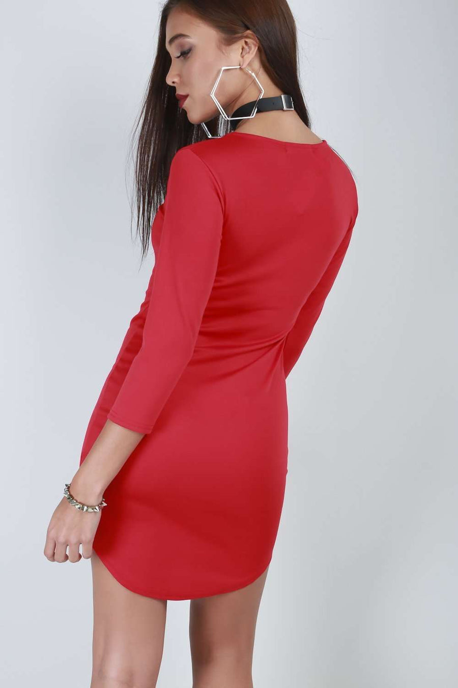 Felix Long Sleeve Curved Hem Bodycon Dress - bejealous-com