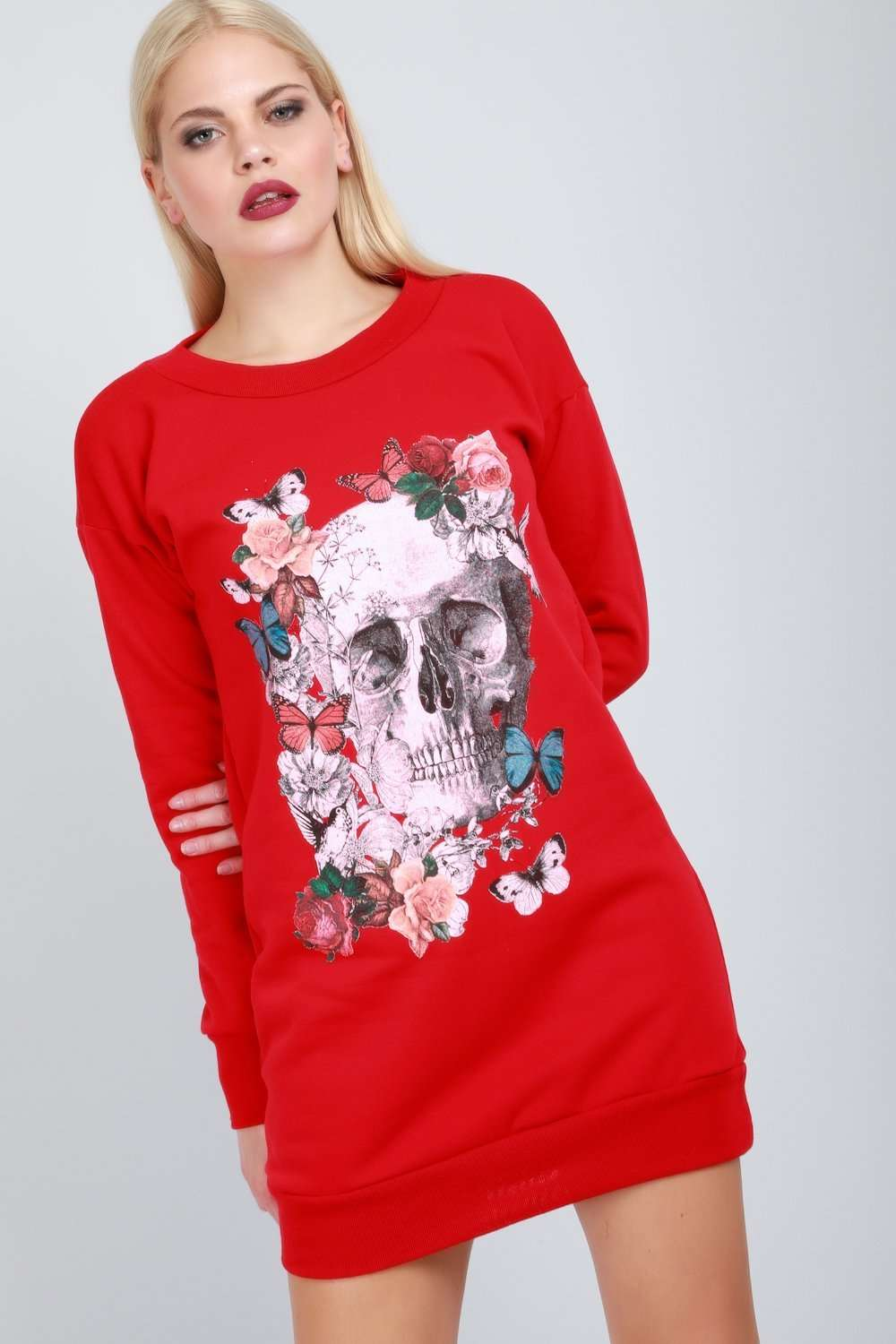 Long Sleeve Red Floral Skull Print Jumper Dress - bejealous-com