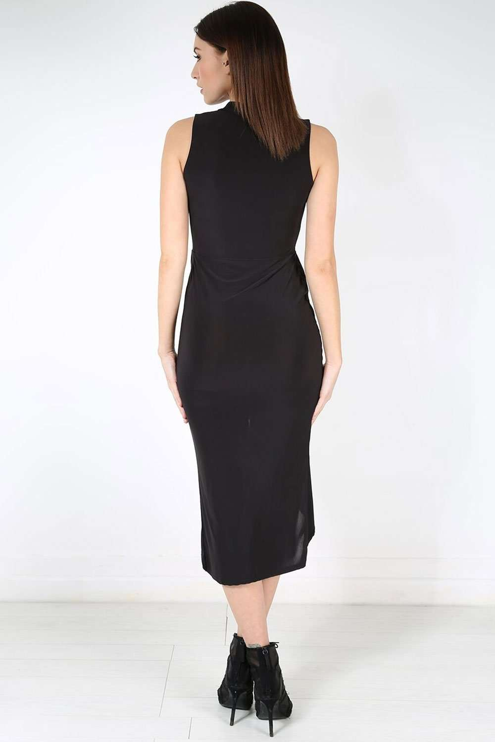 Sleeveless Black Midaxi Wrap Dress - bejealous-com
