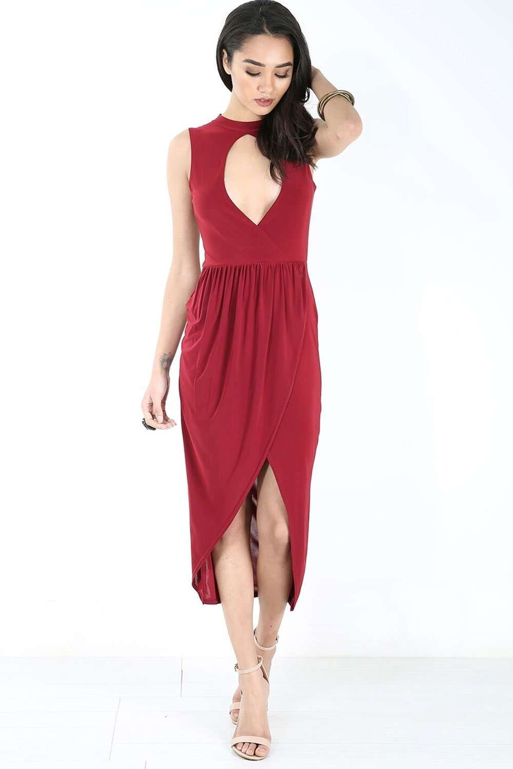 Choker Neck Red Midaxi Wrap Dress - bejealous-com
