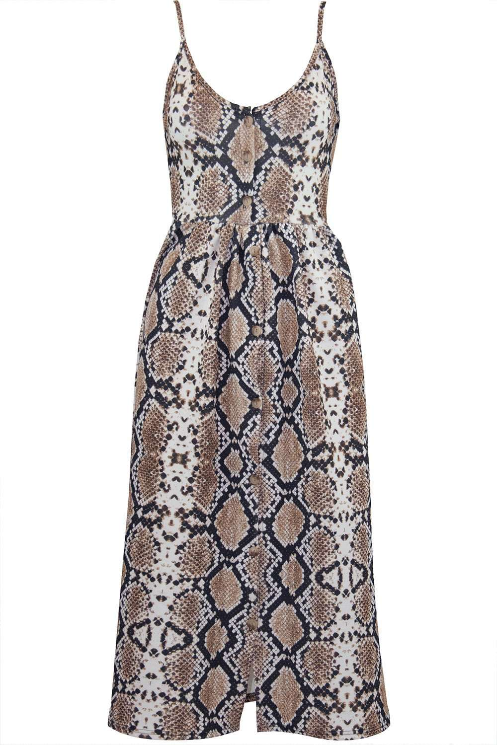 Strappy Button Embellished Snake Print Midi Dress - bejealous-com