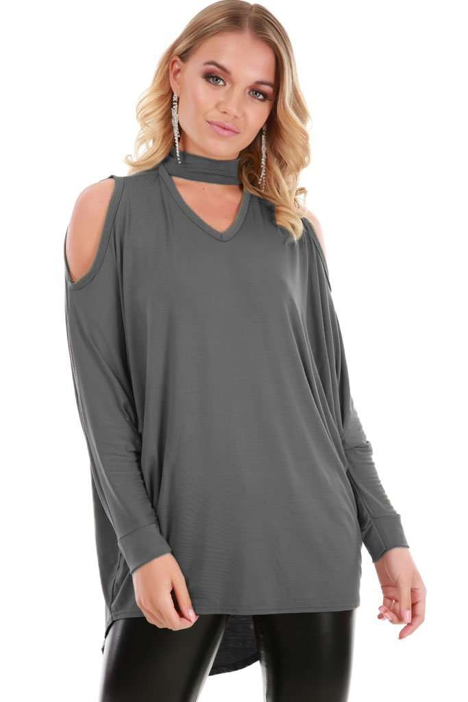 Fraya Cold Shoulder Choker Neck Baggy Top - bejealous-com