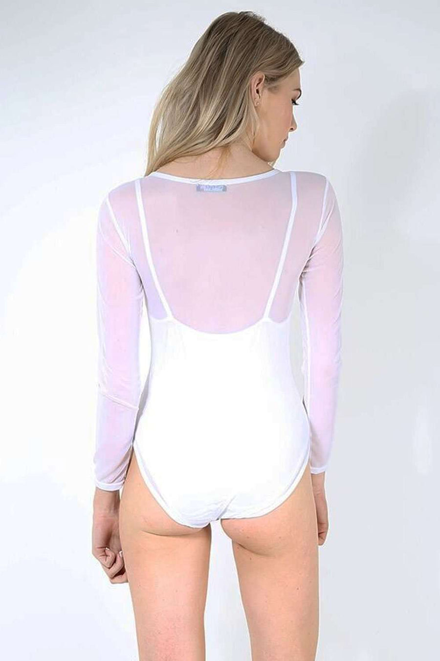 Fraya Long Sleeve Scoop Neck Mesh Bodysuit - bejealous-com