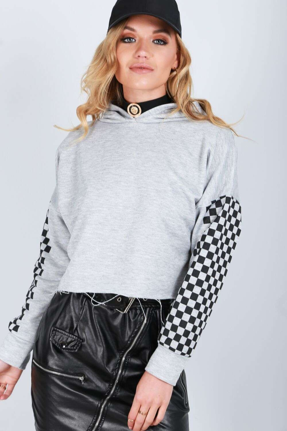 Freya Frayed Hem Cropped Hooded Sweatshirt - bejealous-com