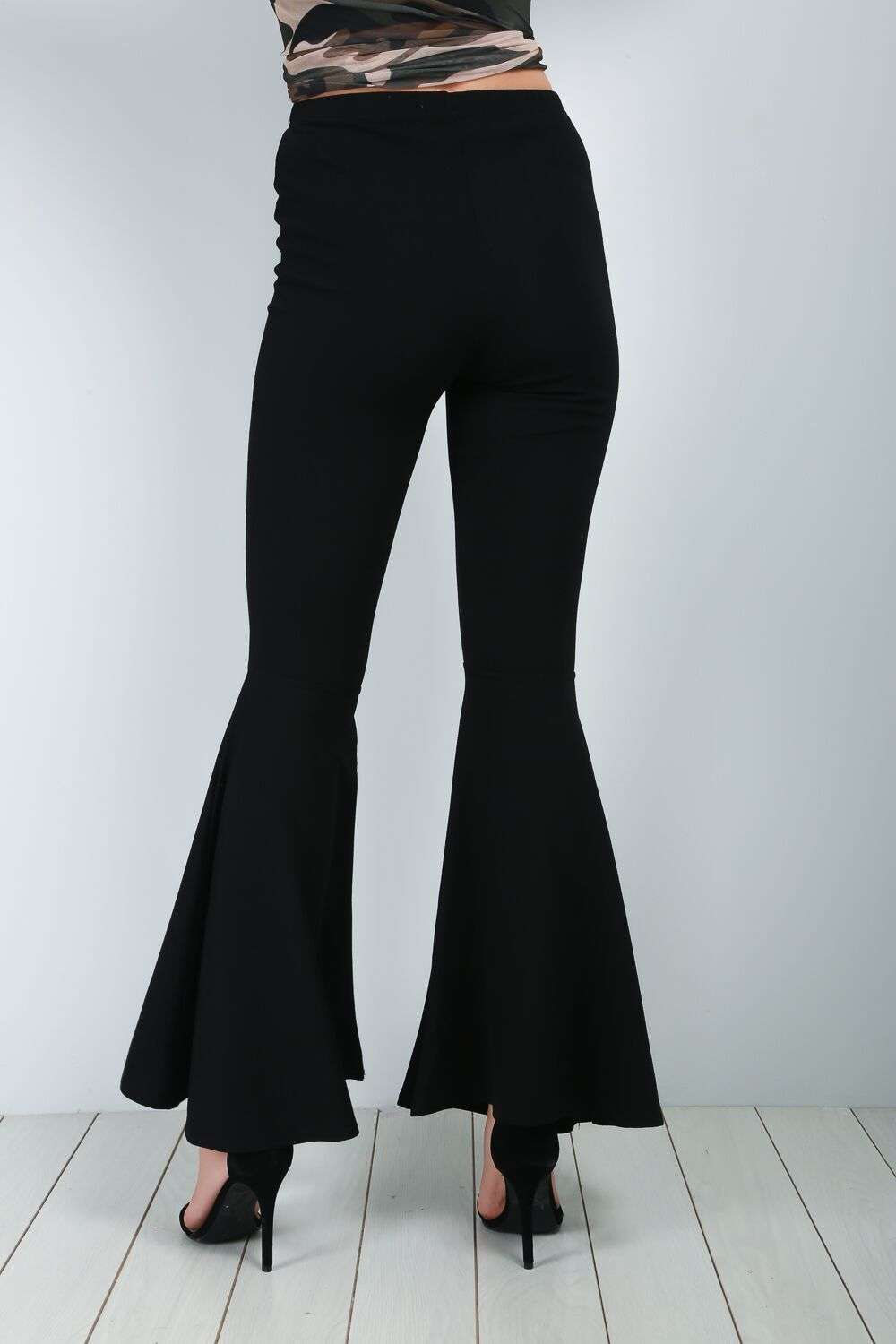 Freya High Waisted Black Flare Leg Trousers - bejealous-com