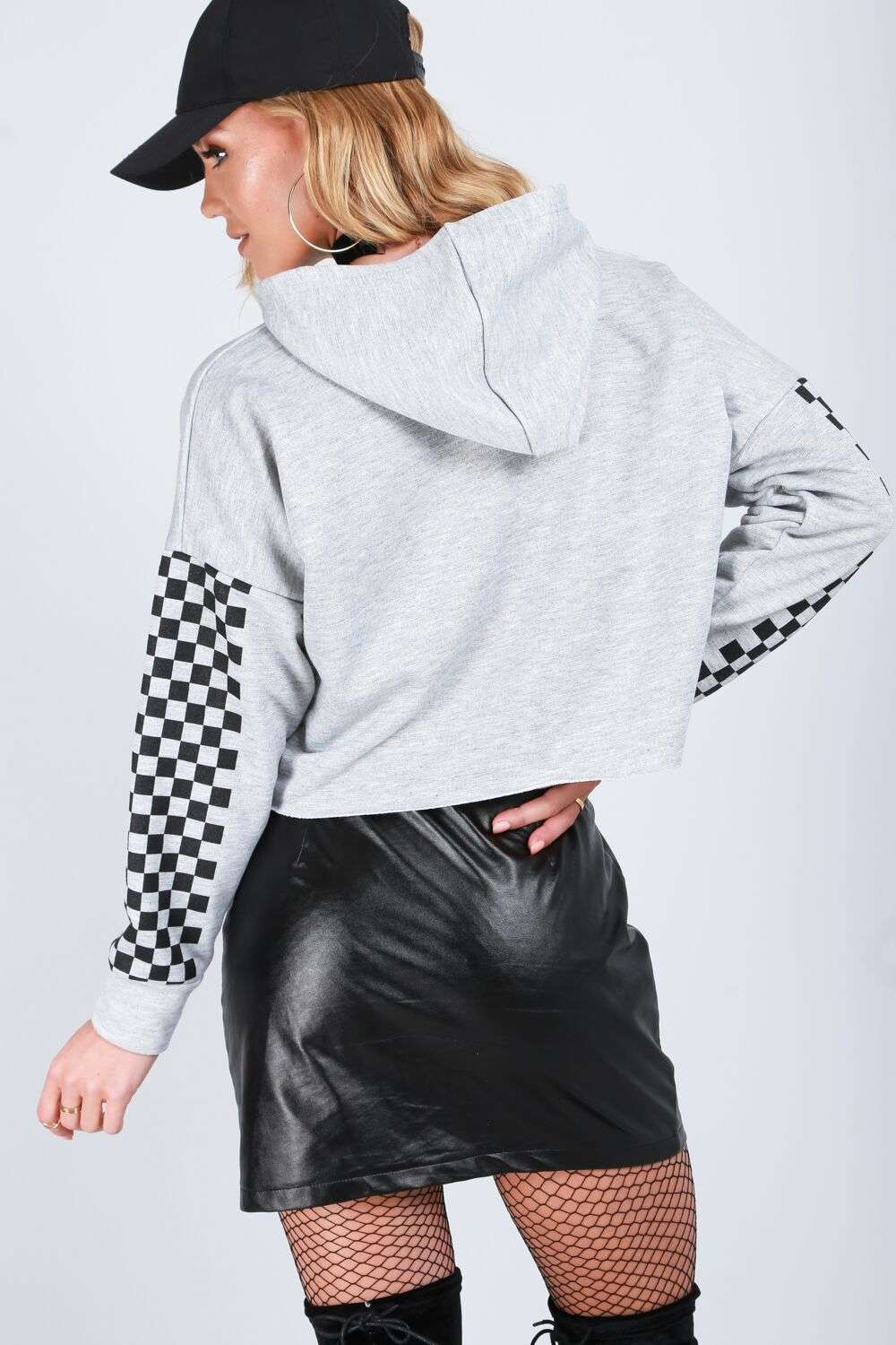 Freya Monochrome Cropped Hooded Sweater - bejealous-com