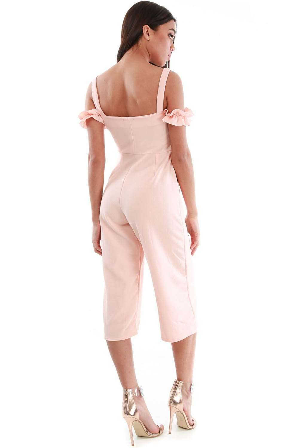 Freya Off Shoulder Culotte Leg Frilly Jumpsuit - bejealous-com