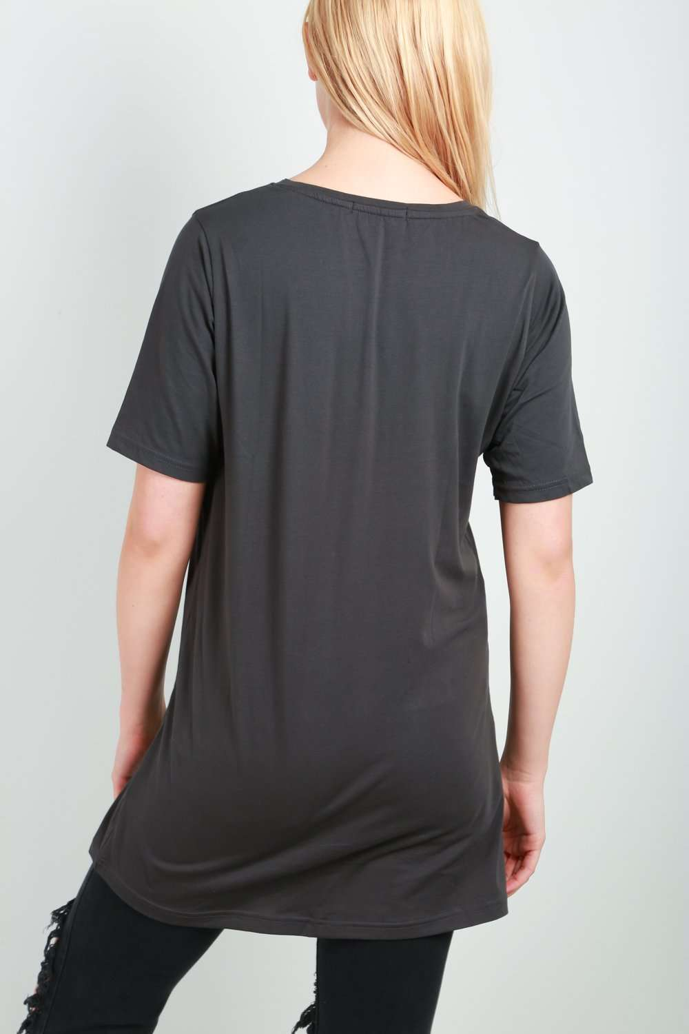 Georgia Charcoal Oversized Basic Tshirt Dress - bejealous-com