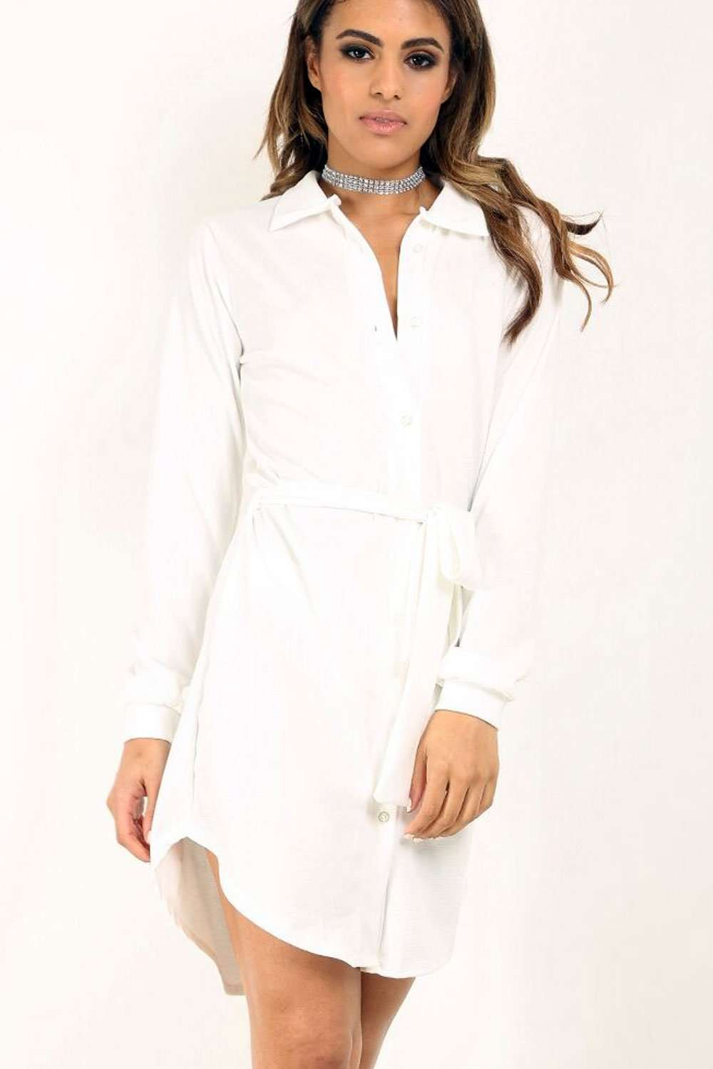 Georgia Long Sleeve Belted Mini Shirt Dress - bejealous-com