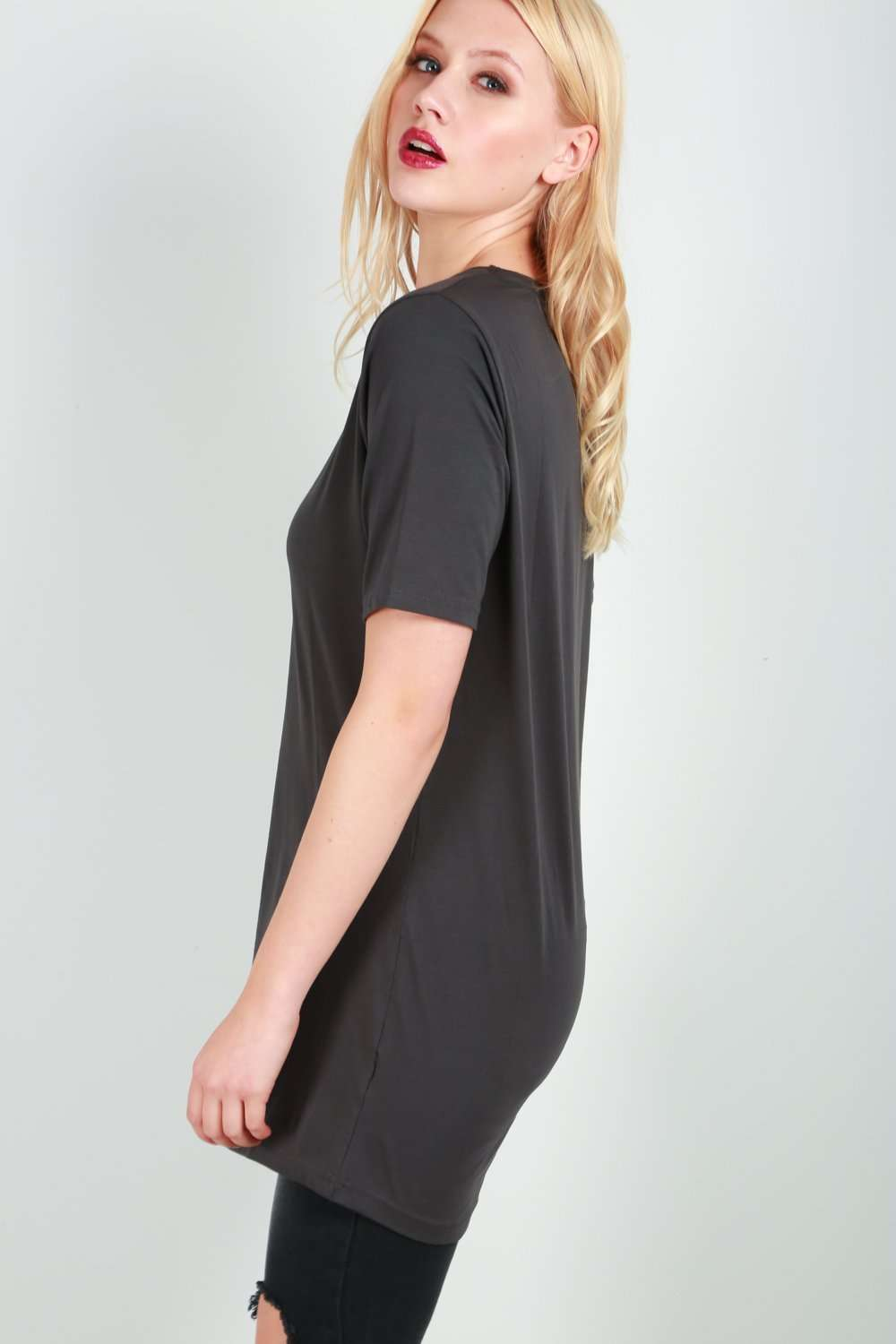Georgia Short Sleeve Oversized Plain Jersey Tshirt Dress - bejealous-com