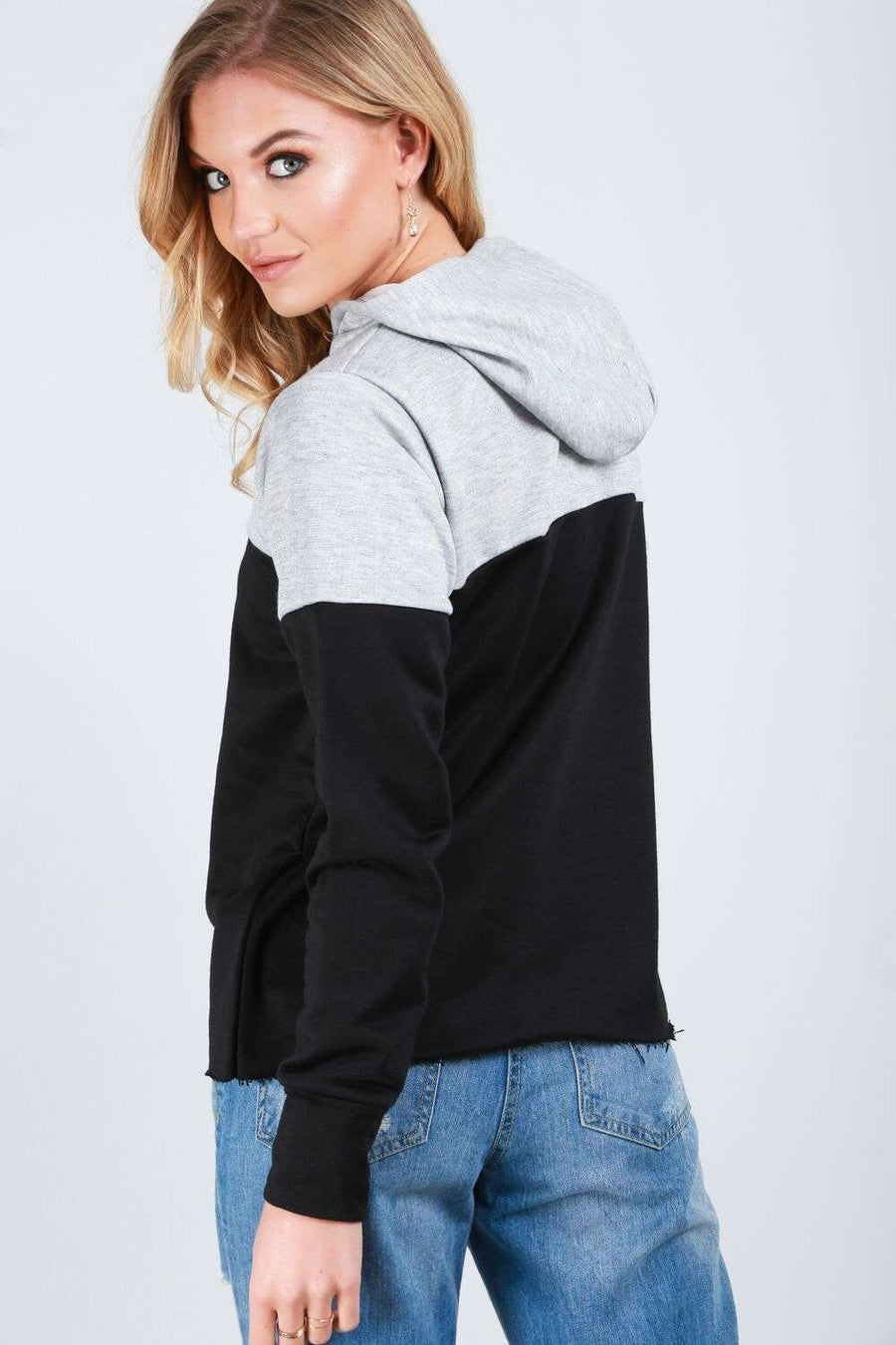 Georja Colour Block Fleece Lined Hoodie - bejealous-com