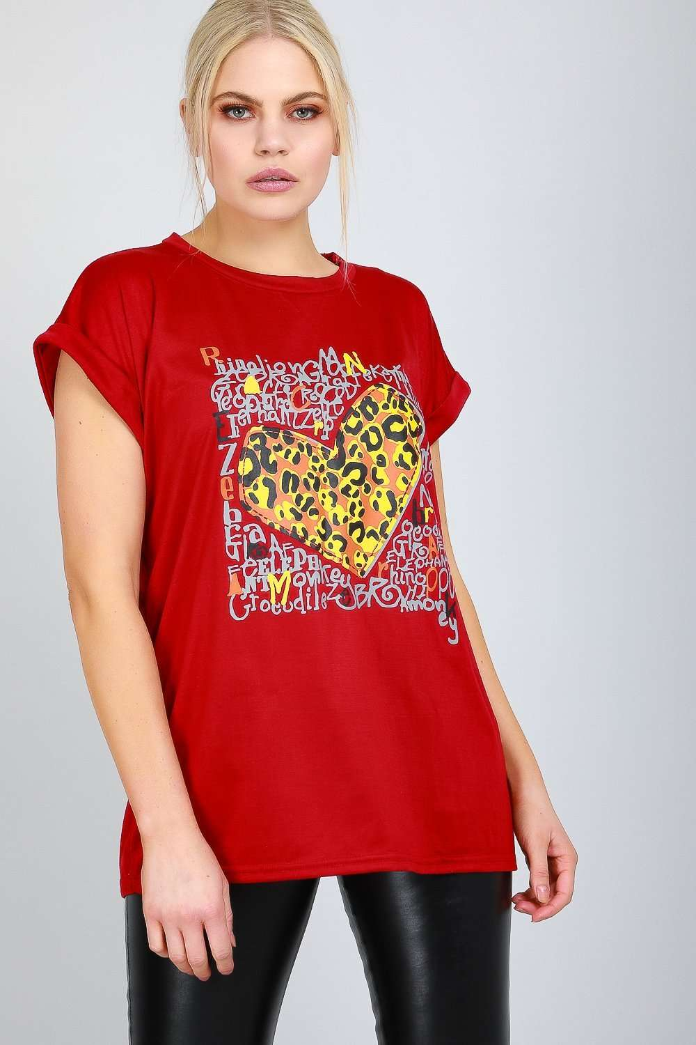 Leopard Graphic Print Red Baggy Tshirt - bejealous-com