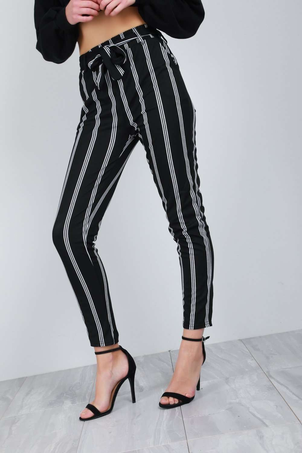 Gina High Waist Monochrome Striped Cigarette Trousers - bejealous-com