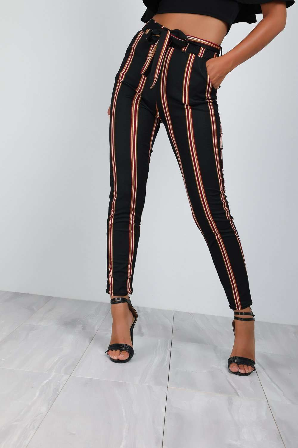 Gina High Waist Slim Leg Striped Trousers - bejealous-com