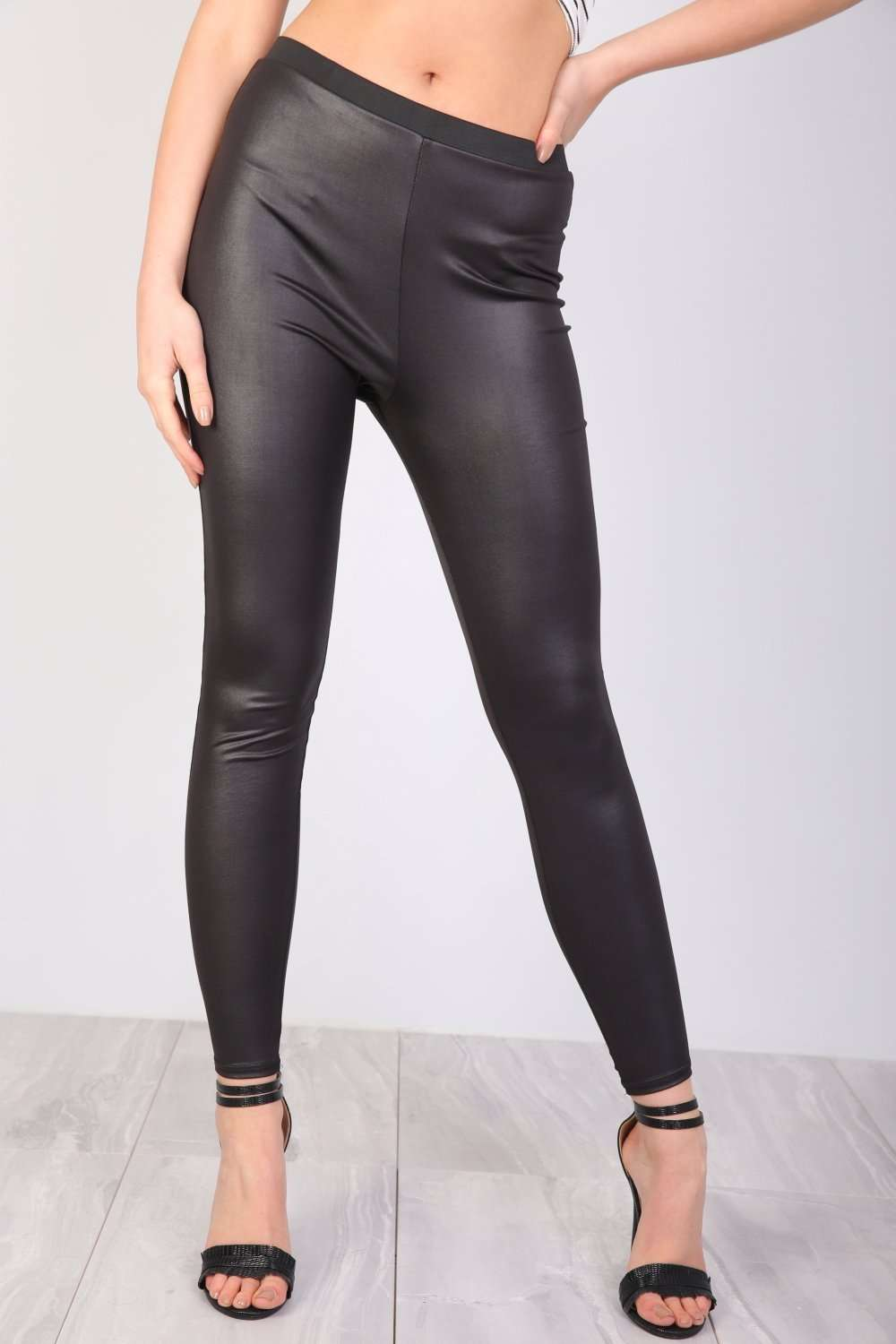 Gina High Waist Wet Look Leggings - bejealous-com