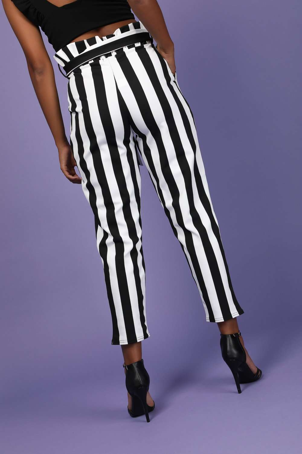Gina High Waisted Monochrome Paper Bag Trousers - bejealous-com