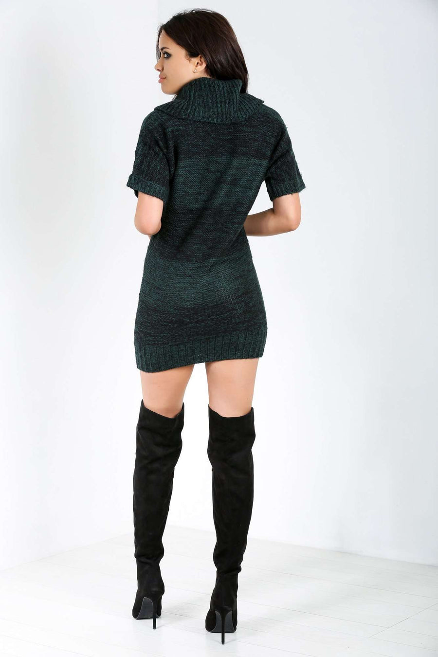 Gina Marl Knit Roll Neck Mini Dress - bejealous-com