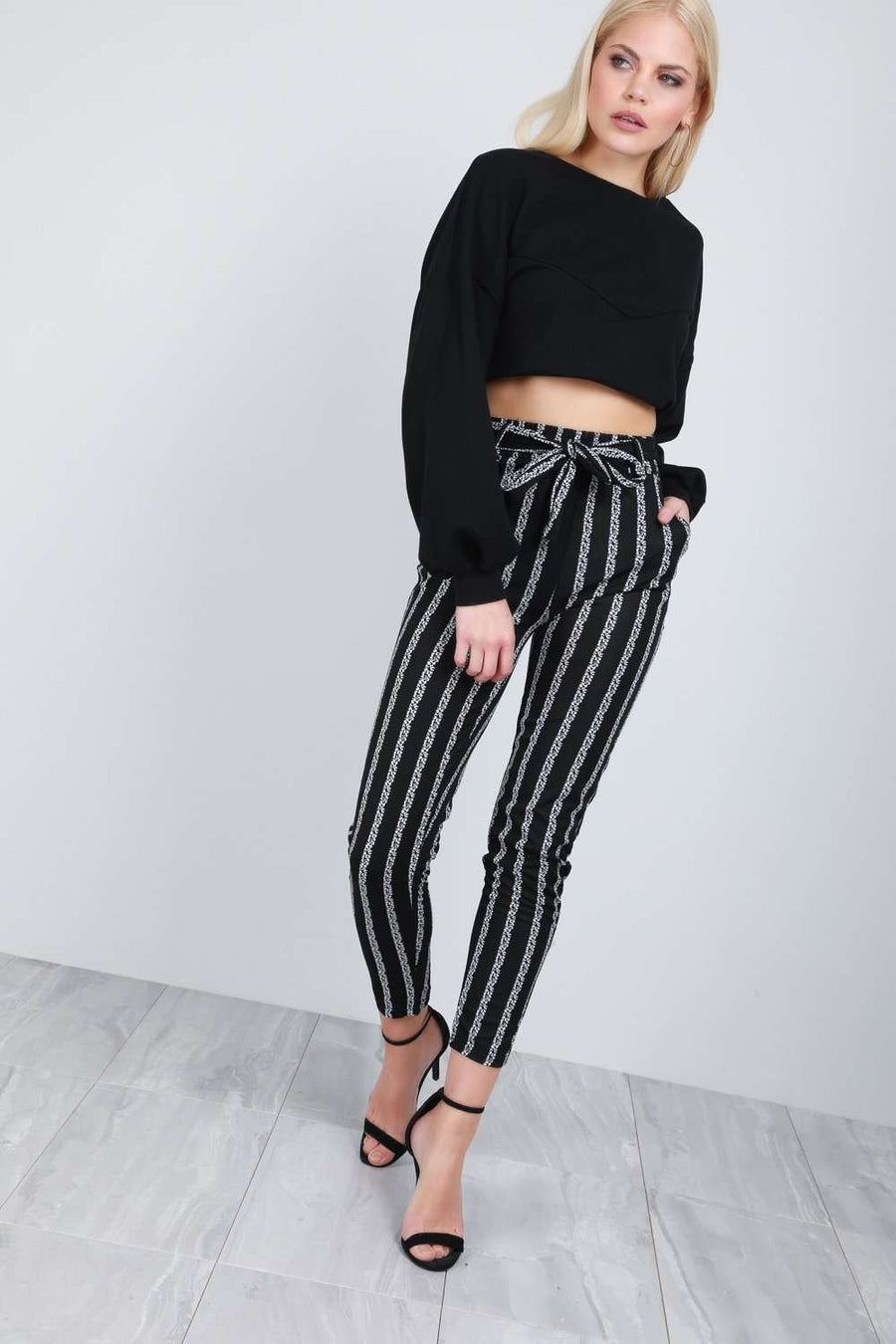 Gina Monochrome Striped High Waist Belted Trousers - bejealous-com