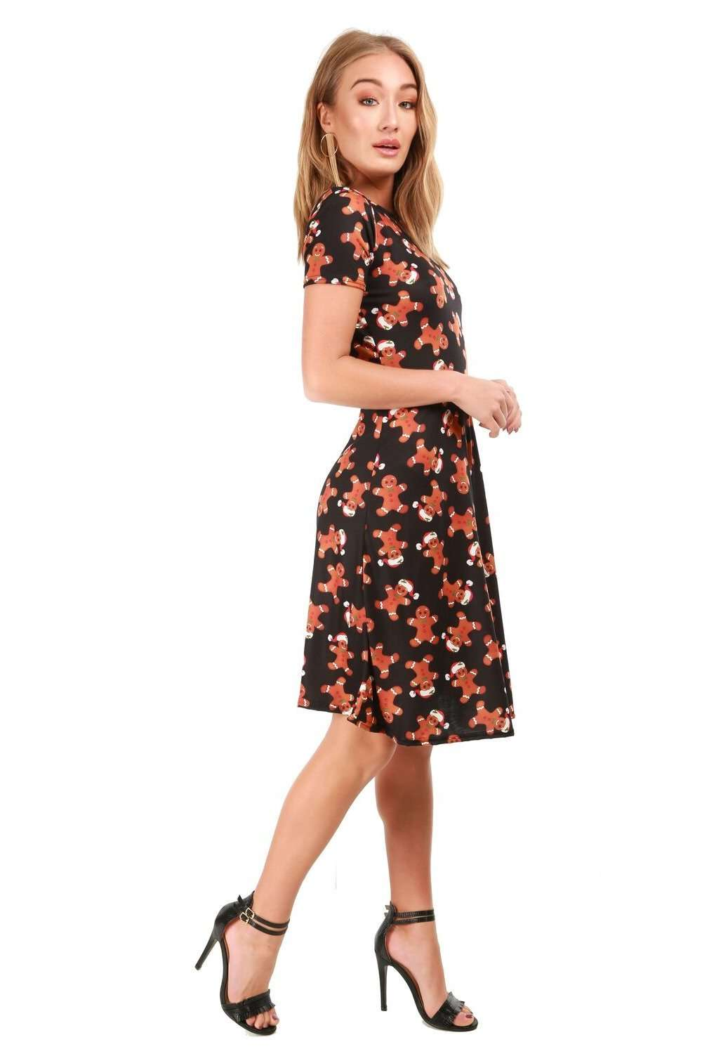 Ginger Bread Christmas Print Midi Swing Dress - bejealous-com