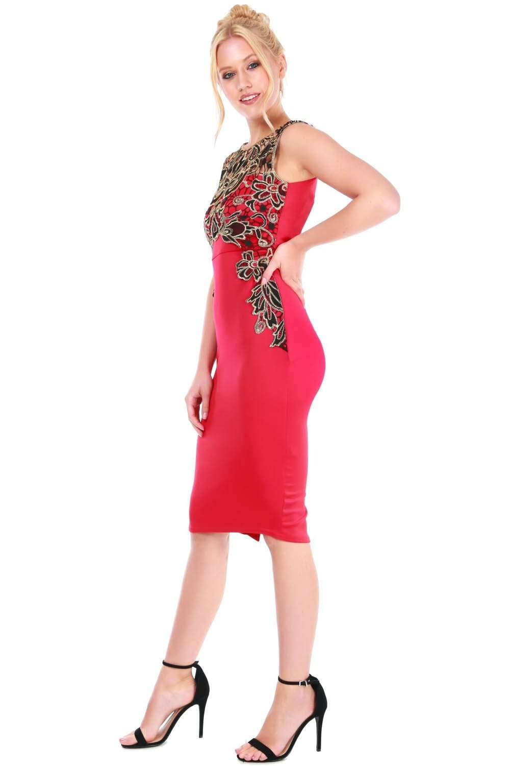 Gold Floral Lace Trim Red Midi Bodycon Dress - bejealous-com
